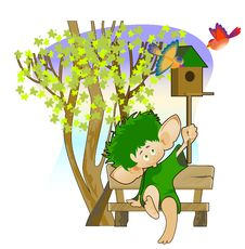 Free Little Leprechaun With A Birdhouse Royalty Free Stock Photo - 28306415