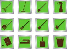 Free Cleaning Icons On Square Buttons Stock Image - 28306841