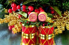 Free An Image Of Wooden Bingo Kegs With Numbers Of Coming New Year Royalty Free Stock Photography - 28312367