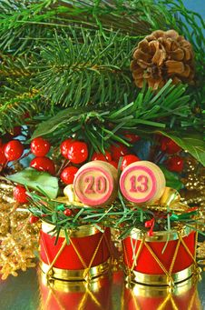 Free An Image Of Wooden Bingo Kegs With Numbers Of Coming New Year Stock Photos - 28312383