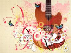 Free Floral Guitar Stock Images - 28312754