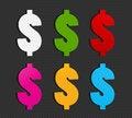 Free Colorful Dollar Symbol Set Royalty Free Stock Photography - 28320787