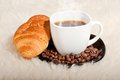 Free Croissant With Coffee And Beans On Fur Background Stock Photo - 28329420