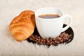Free Croissant With Coffee And Beans On Fur Background Royalty Free Stock Photo - 28329455