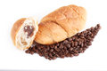 Free Croissant With Coffe Beans On White Background Royalty Free Stock Images - 28329699