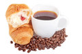 Free Croissant With Coffee And Beans On White Background Royalty Free Stock Images - 28329779