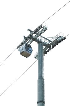 Free Cable Car And Pole On White Royalty Free Stock Images - 28321249