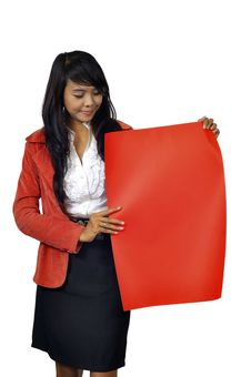 Woman Hold Red Banner Stock Photo
