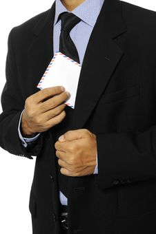 Man Hold Blank Envelope Stock Photography