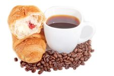Croissant With Coffee And Beans On White Background Royalty Free Stock Images