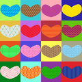 Free Colorful Hearts With Different Textures Stock Images - 28336384