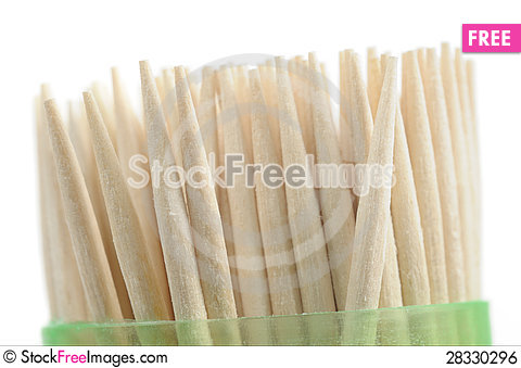 Free Wooden Toothpicks In Plastic Container On White Background Royalty Free Stock Image - 28330296