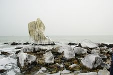 Frozen Rocks On The Seaside, Bulgaria Stock Photography