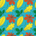 Free Vector Seamless Pattern With Leaves Royalty Free Stock Image - 28342436