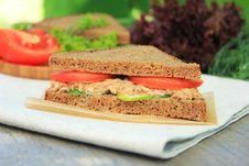 Rye Bread Sandwich With Tuna, Cucumber Slices And Tomatoes Stock Photo