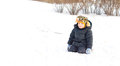 Free Cute Little Boy Kneeling In Winter Snow Stock Photos - 28358943