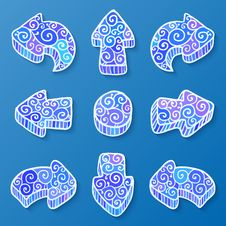 Free Set Of Blue And White Vector Doodle Ornate Arrows Royalty Free Stock Photos - 28351058