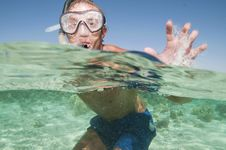 Free Happy Man With Snorkel Mask In Ocean Royalty Free Stock Image - 28351486