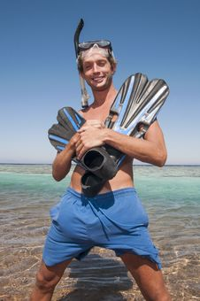 Free Happy Man With Snorkel Mask And Finns Stock Photos - 28351523