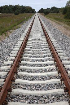 Renewed Rails Wilt Concrete Sleepers Royalty Free Stock Photos