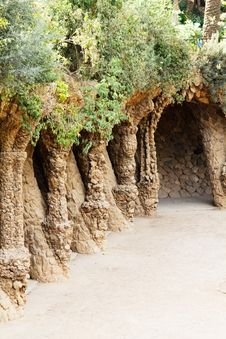 Park Guell Stone Colonnad Stock Images