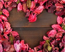 Flower Petals Forming A Heart Shape Stock Photography