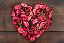 Flower Petals Forming A Heart Shape Stock Images