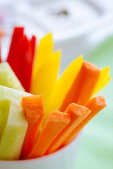 Carrots, Cucumber And Pepper Sticks Royalty Free Stock Photography