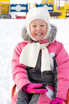 Free Beautiful Smiling Little Girl In Snow Royalty Free Stock Photography - 28358927