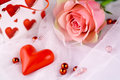 Free Romantic Red Heart And Rose Stock Images - 28362754
