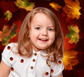 Free Girl On The Abstract Background With Leaves Royalty Free Stock Image - 28364186