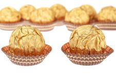 Group Chocolate Candies Wrapped In Gold. Royalty Free Stock Image