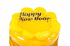 Free Orange Cake With Golden Happy New Year Text Stock Image - 28361161