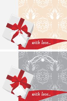 Free Gift Boxes With Tag And Bow. Backgrounds Royalty Free Stock Photography - 28364477