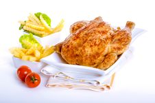 Free Crisp Golden Roast Chicken Stock Photography - 28369322