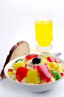 Free Salad With Crab Sticks And A Glass Of Juice Stock Images - 28370614