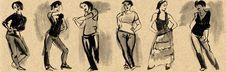 Sketches Of Figures In Gouache Stock Photo