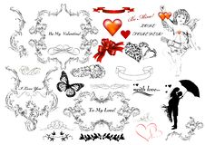 Collection Of Calligraphic Design Elements On St Valentine S Day Royalty Free Stock Image