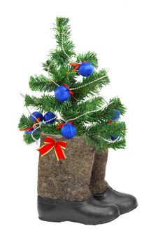 Free Christmas Tree And Boots Royalty Free Stock Images - 28377969