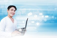 Free Asian Man With Laptop Royalty Free Stock Photo - 28378545
