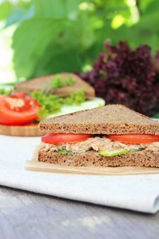Rye Bread Sandwich With Tuna, Tomato Slices And Cucumber Stock Photos