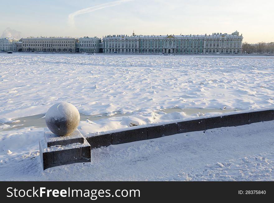 Frozen Neva river