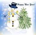 Free New Year Greeting Card With Snowman And Fir Tree Stock Image - 28383481