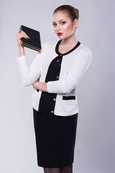 Free Proud Young Business Woman In Modern Costume With Book Royalty Free Stock Photos - 28382548