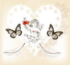 Free Vintage Valentine Card With Amour And Hearts From Lace Royalty Free Stock Image - 28383526