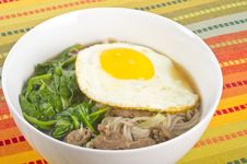 Free Buckwheat Noodle Soup With Egg And Beef Royalty Free Stock Photography - 28384887