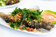 Free Fried Fish And Mint Leaves Stock Images - 28385584