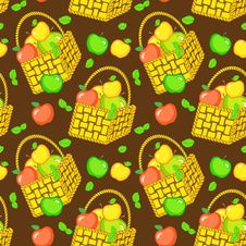Free Vector Seamless Pattern With Baskets Of Apples Stock Images - 28386094