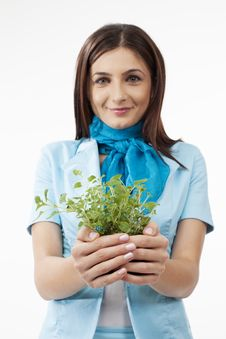 Free Woman Presenting Plants Stock Image - 28388301