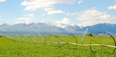 Free Irrigation System On Farm With San Juan Mountains In Background Stock Images - 28394394